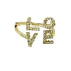 Love Pave Gold Tone Adjustable Ring